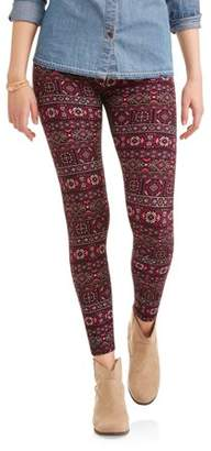 Hot Gal Juniors' Printed Brushed Ankle Leggings