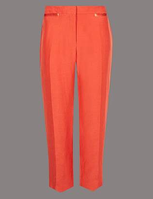 Marks and Spencer Linen Rich Ankle Grazer Straight Trousers