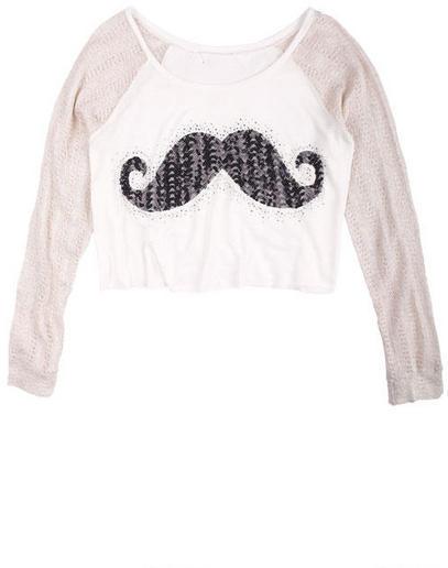 Delia's Sequin Mustache Long-Sleeve Tee