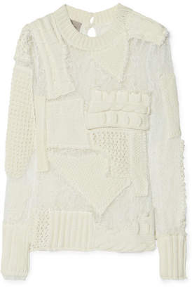 Zora Patchwork Stretch-lace And Cotton-blend Knit Sweater - Ivory