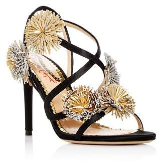 Charlotte Olympia Women's Embellished Satin Slingback High-Heel Sandals