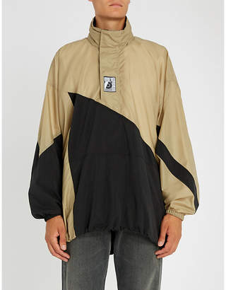 Balenciaga Mens Beige and Black Two-Tone Shell Anorak