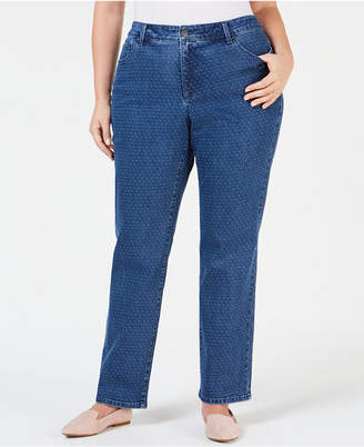 Charter Club Plus Size Dot-Print Tummy-Control Jeans