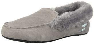 Dearfoams Women's Suede Moccasin Slipper - Indoor/Outdoor Padded Slippers with Memory Foam Cushioning and Warm Shearling Wool Lining - Grey