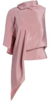 Roland Mouret Tavistock Draped Asymmetrical Silk Top