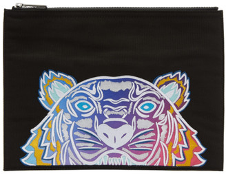 Kenzo Black Limited Edition Embroidered Tiger Pouch $140 thestylecure.com