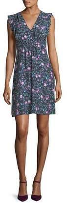 Rebecca Taylor Ruby Floral-Print V-Neck Sleeveless Day Dress