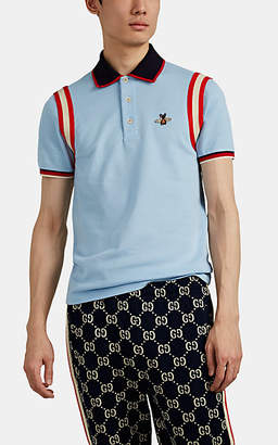 Gucci Men's Bee-Patch Cotton-Blend Piqué Polo Shirt - Blue