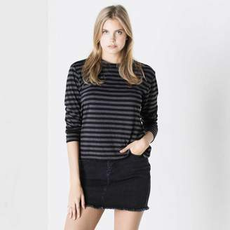 DSTLD Long Sleeve Boxy Tee in Black and Grey Stripes