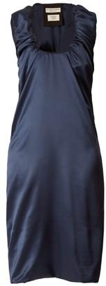 Bottega Veneta Gathered Scoop Neck Satin Midi Dress - Womens - Dark Blue