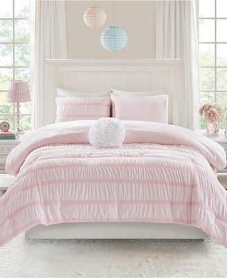 Jla Home Mi Zone Bella Full/queen 4 Piece Ruched Seersucker Comforter Set With Microlight Reverse Bedding