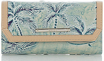 Brahmin BRAHMIN Brahmin Copa Cabana Collection Embossed Palm Tree Print Soft Checkbook Wallet