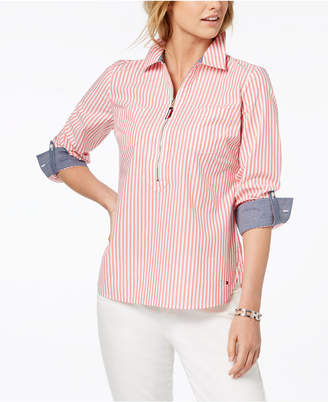 Tommy Hilfiger Cotton Zip-Front Popover Shirt