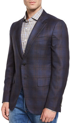 Isaia Plaid Two-Button Sport Jacket, Navy/Brown $3,895 thestylecure.com