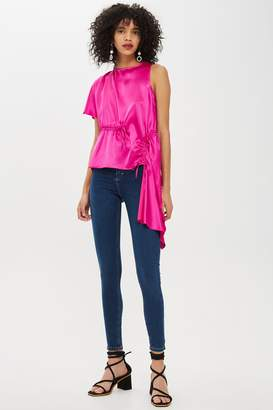 Topshop Womens Satin Asymmetric Blouse - Pink