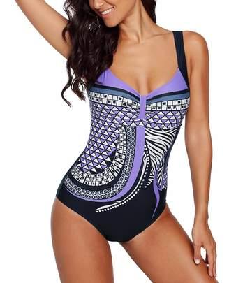 534957b936 Blugibedramsh One Piece Bikini Swimsuits for Women Print Retro Monokini  Bathing Suits Padded Sport Athletic Tummy