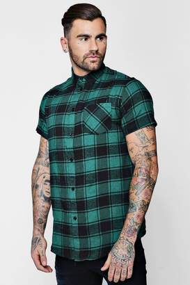 boohoo Short Sleeve Buffalo Brushed Check Shirt