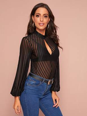 Shein Striped Sheer Mesh Keyhole Neck Top Without Bra