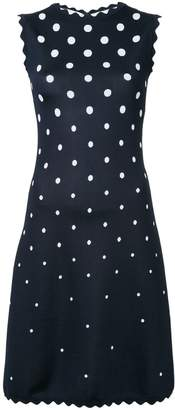 Oscar de la Renta scalloped polka dot shift dress