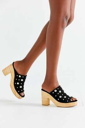 Urban Outfitters Studded Wooden Heel Mule
