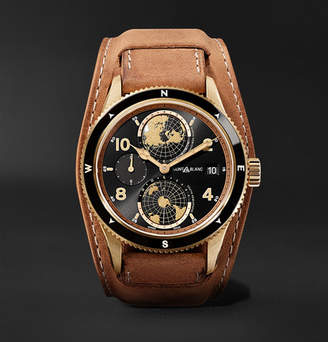 Montblanc 1858 Geosphere Limited Edition Automatic 42mm Bronze And Leather Watch