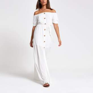 884bfadf9e1 River Island Womens White bardot button front maxi dress