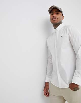 Original Penguin stretch poplin buttondown shirt small logo heritage slim fit in white