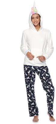 So Juniors' SO Sherpa Unicorn Hoodie & Pants Pajama Set