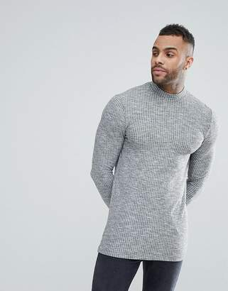 Asos DESIGN Longline Muscle Long Sleeve T-Shirt With Turtleneck In Knitted Jersey Rib In Gray