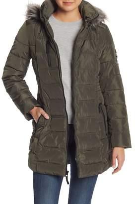 Nautica Faux Fur Trim Mid Length Down Jacket
