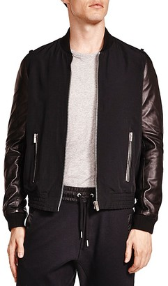 The Kooples Slippery Technical Mixed Media Bomber Jacket $555 thestylecure.com