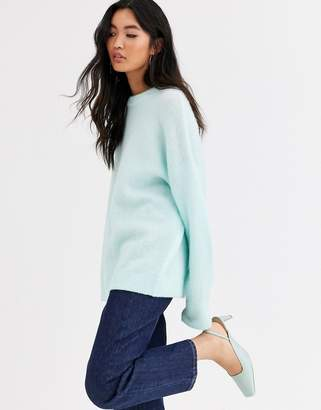 And other stories &  round neck longline jumper in mint green