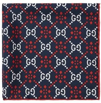 Gucci Gg Logo Print Silk Pocket Square - Mens - Navy