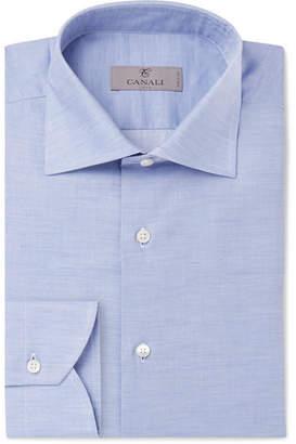 Canali Light-blue Melange Cotton-poplin Shirt - Blue