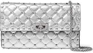 Valentino Garavani The Rockstud Spike Quilted Metallic Textured-leather Shoulder Bag - Silver