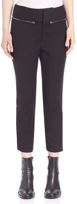 MS MIN Women's Zipper Accented Cropped Pants