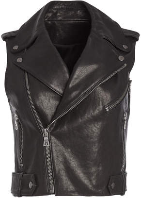 Alice + Olivia CODY CROPPED LEATHER MOTO VEST