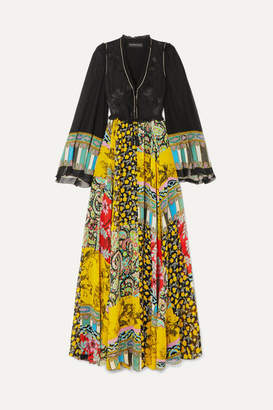 Etro Tassel-trimmed Floral-jacquard And Printed Silk-chiffon Maxi Dress - Black