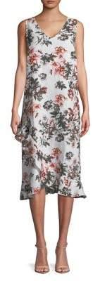 Lord & Taylor Plus Linen Asymmetric Ruffle Hem Dress