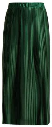 Givenchy Pleated Satin Skirt - Womens - Green