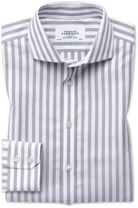 Charles Tyrwhitt Extra Slim Fit Spread Collar Non-Iron Wide Stripe Grey Cotton Dress Shirt Single Cuff Size 15/34