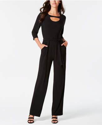 NY Collection Petite Cutout Belted Jumpsuit