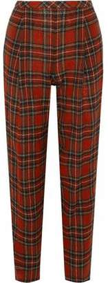 Rosetta Getty Cropped Checked Tweed Straight-Leg Pants