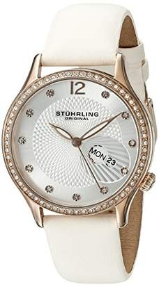 Stuhrling Original Symphony Women's Quartz Watch with Silver Dial Analogue Display and White Leather Strap 801.03