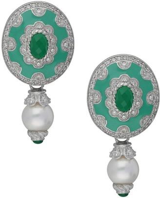 Judith Ripka Sterling Gemstone & Pearl Drop Earrings