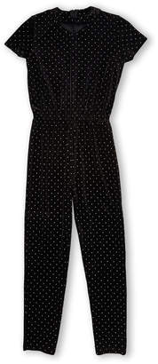 Design History Girls 7-16) Black Short Sleeve Dotted Jumpsuit