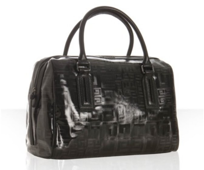 Givenchy black vinyl logo print medium 'Boston' bag