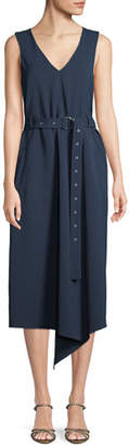 Tibi V-Neck Sleeveless Belted Drape Twill Midi Dress