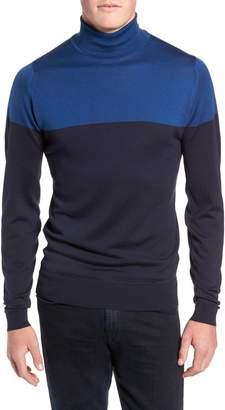 John Smedley Slim Fit Colorblock Merino Wool Turtleneck Sweater