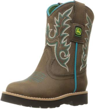 John Deere Kids' Chi Dist/Turq Trim PO Pull-on Boot